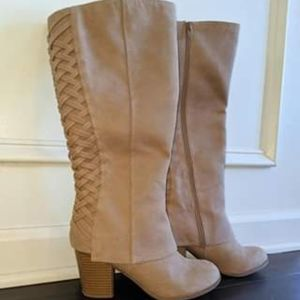 Fergalicious Tan Suede Calf High Boots